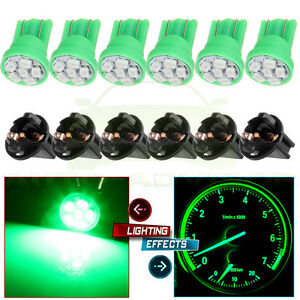 6x T10 194 168 Green 3528 Led Bulb Dash Instrument Panel Light Sockets For Honda