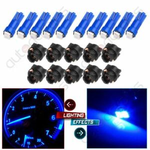 10x Blue Led Sockets Dash Instrument Panel Light Bulbs T5 17 70 For Cadillac