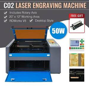 50w Co2 20 X 12 Laser Engraver Cutter Machine With Cylinder Rotary Attachment