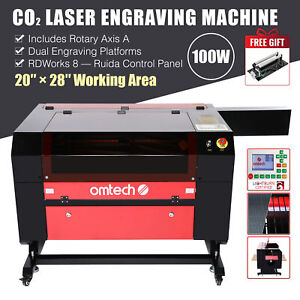 2021 Upgraded 100w 28 x20 Co2 Laser Engraver Cutter With Rotary Axis Ruida
