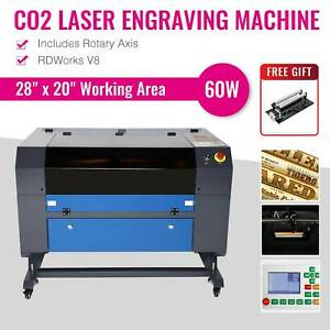 Co2 28 X 20 Laser Engraver Cutter Machine With Cylinder Rotary Attachment 60w