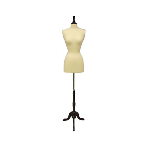 Female Dress Form Pinnable Foam Mannequin Torso Size 2 4 With Tripod Black Base
