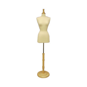 Female Dress Form Pinnable Foam Mannequin Torso Size 2 4 With Wood Round Base