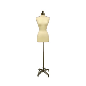 Female Dress Form Pinnable Foam Mannequin Torso Size 2 4 With Gray Rolling Base