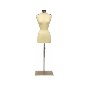 Female Dress Form Pinnable Foam Mannequin Torso Size 2 4 With Square Metal Base