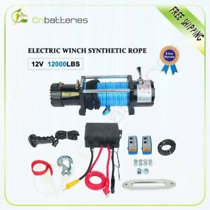 12000lbs Electric Recovery Winch Towing Truck 9 5mm 26m Synthetic Rope Off Road