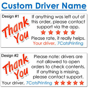 30 For Doordash Stickers Thank You On Delivery Driver Bag Custom Name Free Ship