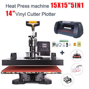 5in1 Heat Press Machine 15 x15 Vinyl Cutter Plotter 14 Usb Port Sticker Print