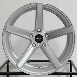 4 new 18 Vors Tr5 Wheels 18x8 5 18x9 5 5x114 3 35 35 Silver Staggered Rims 73 1