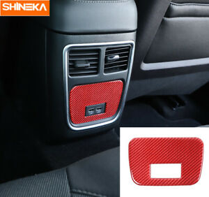 Rear Air Condition Outlet Vent Trim For Dodge Charger 2015 2020 Red Carbon Fiber