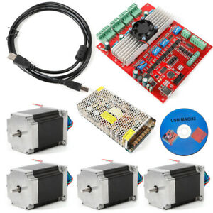 Cnc 4x Nema23 Stepper Motors 290 Oz in 4axis Motor Driver Board Kit Usb Cable cd