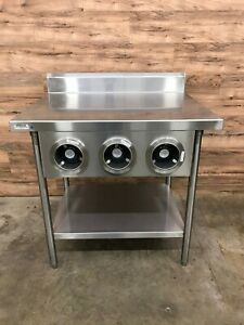 Trimark Stainless Steel Table 36 W X 30 D W Triple Cup Dispenser Cabinet