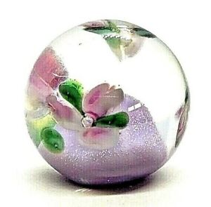 Clear Glass Ball Button With Purple Base Floating Flowers