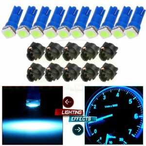10x Ice Blue Led W Sockets Dash Instrument Panel Light Bulb T5 17 18 58 70 74