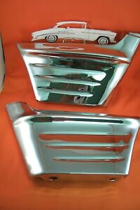 1956 Chevy Chrome Front Fender Extensions 356 Usa Made Belair Sedan Hardtop Noma