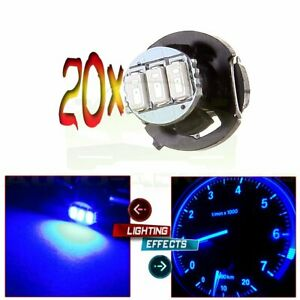 20x T4 2 t4 Blue 3014 3smd Led Neo Wedge Dash A c Climate Heater Light For Honda