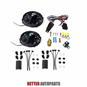 Dual 7 Inch Universal Electric Radiator Cooling Fan thermostat Mount Kit Black