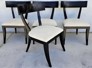 Set Of 4 Restoration Hardware Talia Klismos Style Solid Wood Dining Chairs