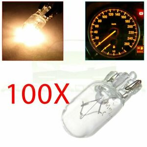 100x T10 194 168 Warm White Car Cluster Speedometer Side Wedge Halogen Bulbs 5w