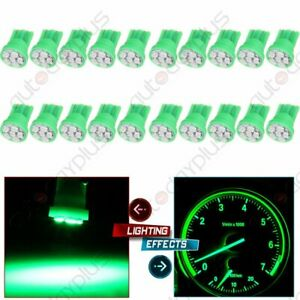 20pcs Green Led Bulbs T10 W5w 194 Instrument Panel Clsuter Dash Light For Ford
