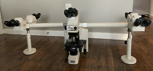 Nikon Microscope Eclipse E600 5 Head Teaching System 2 Head Adapter 4 Objectives