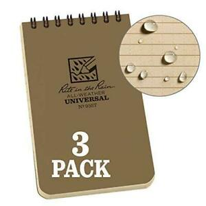 Rite In The Rain All Weather Tactical Pocket Notebooks 3 L X 3 W X 5 H Tan