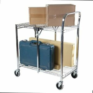 Stainless Steel Utility Cart Folding Commercial 2 tier Kitchen Offices