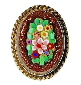Antique Waistcoat Button Intricate Micro Mosaic Flowers With Goldstone Base