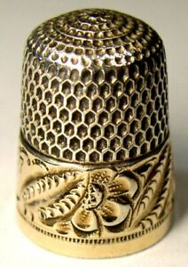 Antique Simons Bros Gold Band Sterling Silver Thimble Chased Leaves