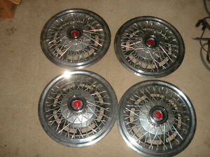 Set Of 4 Oem 1977 83 Ford Fairmont Granada Mercury 14 Wire Hubcaps Wheel Covers