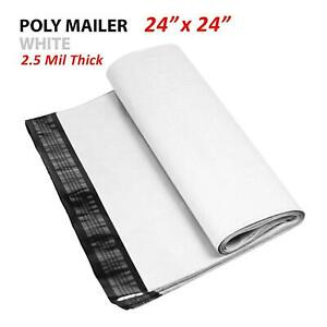 1 1000 Multi pack 24x24 White Poly Mailers Shipping Envelopes Self Sealing Bags