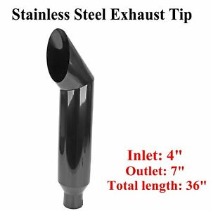 4 Inlet 7 Out Tip 36 Long Black Miter Angle Cut Diesel Smoker Exhaust Stack