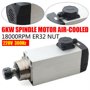 6kw 220v 12a Air Cooled Spindle Motor Er32 300hz 18000rpm For Cnc Router Machine
