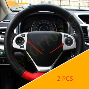 Silver Front Steering Wheel Button Frame Cover Fit For Honda Cr v Crv 2012 2016