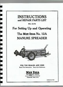 New Idea 12a Manure Spreader Owners Operators Manual Ground Driven