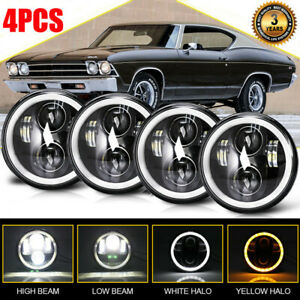 4pcs Dot 5 75 5 3 4 Round Halo Led Headlights For Chevy Bel Air Cadillac Caprice