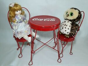 Vintage Red Metal COCA COLA Bistro Table & Chairs Set Children's Doll Size
