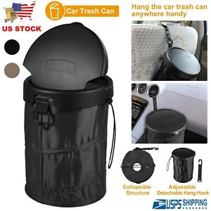 Auto Car Leak Proof Trash Bag Litter Bin Can Garbage Storage Organizer With Lid