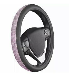 New Pink Bling Crystal Rhinestone Car Steering Wheel Cover Universal 14 5 15