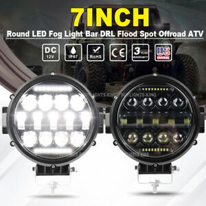 2x 7inch 72w Led Work Light Spot Beam Offroad Truck Round Fog Driving Lamp Black