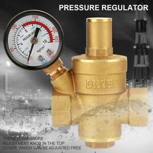 Dn15 Brass Adjustable Water Pressure Regulator Reducer With Gauge Meter Usa