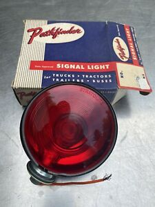Vtg Pathfinder Nos Light Red Yellow Safety Auto Truck Lamp Glass Tractor Bus