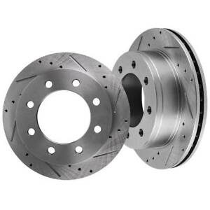 Rear L r Drilled Slotted Brake Rotors For Chevy Avalanche Silverado Gmc Sierra