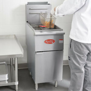 50 Lb Natural Gas Commercial Restaurant Stainless Steel Floor Deep Fryer