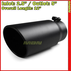 Black 12 Inch 2 5 Inlet 5 Outlet Stainless Truck 202784 Bolt On Exhaust Tip