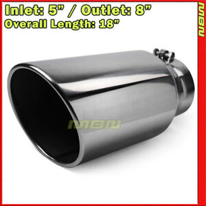 Angled 18 Inch 5 Inlet 8 Outlet Stainless Truck 203206 Bolt On Exhaust Tip