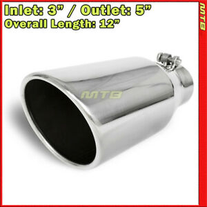 Exhaust Tip 214054 Stainless Truck Angled Polished 12 Inch Bolt on 3 In 5 Out