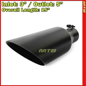 Universal Exhaust Tip Angled Black 15 Inches Bolt On 3in Inlet 5in Outlet