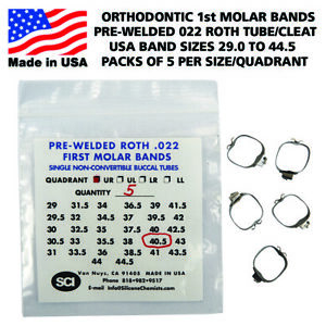 Orthodontic Pre welded 1st Molar Bands Usa Sizes Roth 022 Tube Cleat Pack Of 5