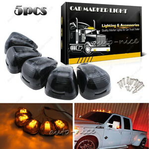5pc Smoke Cab Marker Light W Amber Led Assembly Wiring For 99 16 Ford 250 550